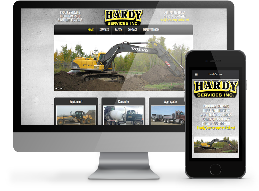 Responsive website for Hardy Services by OmniOnline of Regina Sk