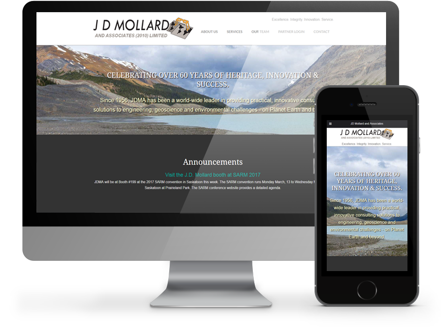 JD Mollard Responsive Website - designed by OmniOnline of Regina, SK