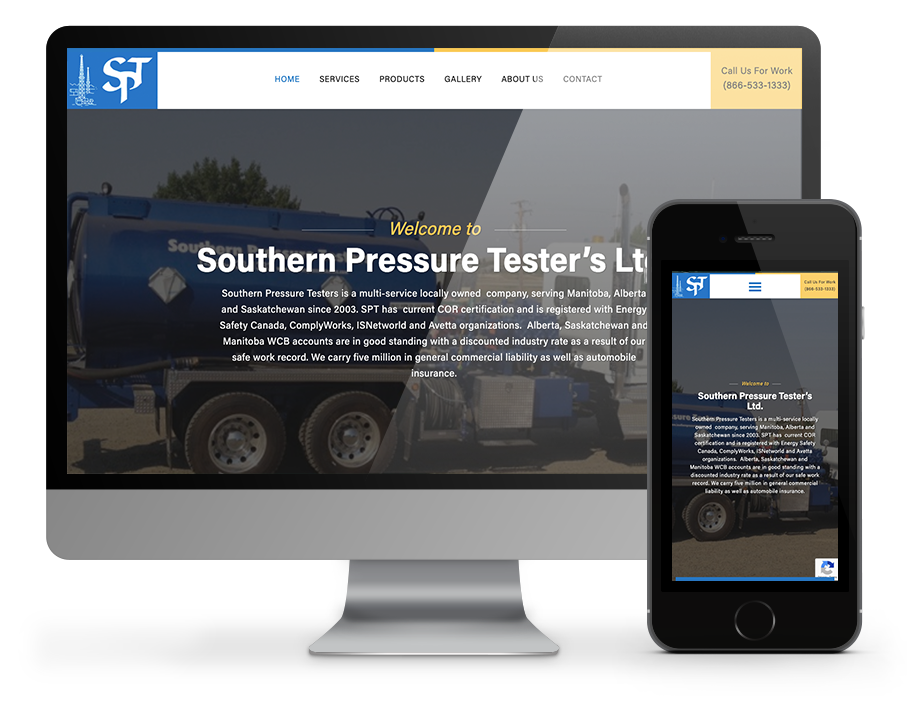 Southern Pressure Testers website by OmniOnline