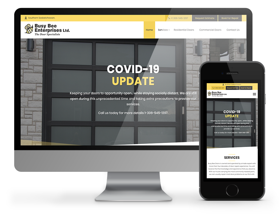 Busy Bee Doors Business Website by OmniOnline