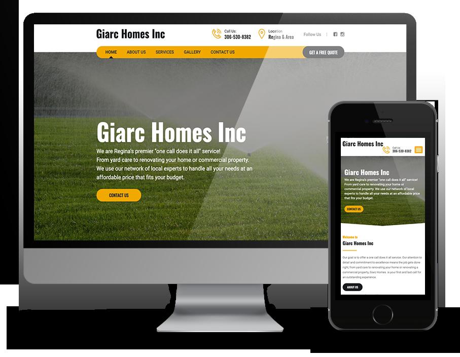 giarc homes inc website by OmniOnline, Regina Web Designers