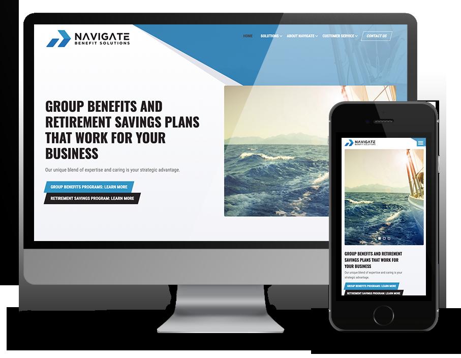 Navigate benefits responsive website OmniOnline, Regina Web developer