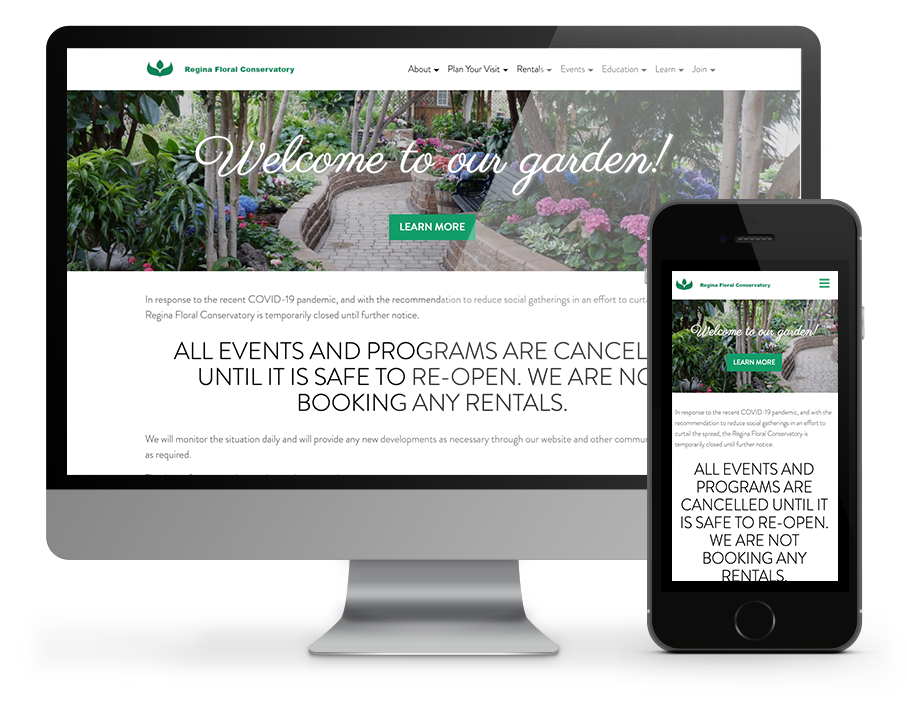 regina floral conservatory website - hosted by OmniOnline